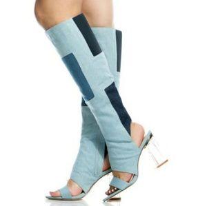 New Denim Knee High Cut Out Boots Side Zipper